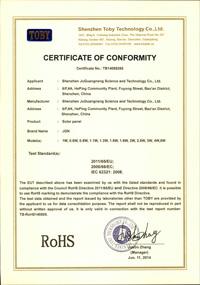 RoHS证书_聚光能太阳能